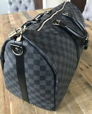 LOUIS VUITTON Keepall Bandouliere 45 Damier Graphite Canvas Travel Bag Authentic