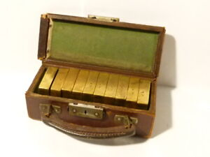 Antique Set of Square Brass Weights 10 x 1lbs Pound in Original Leather Case *