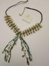 Mia Collection Born in USA Long Shell Necklace Turquoise Brown White Silver Tone