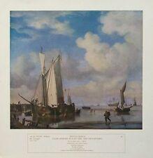 Van De Velde-embarcaciones neerlandesas Print - 34x35cms, Willem el joven, antiguo barco de impresión