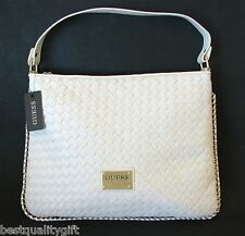 NEW GUESS ALESTI WOVEN WHITE LEATHERETTE+GOLD TONE BRAIDED BORDER HAND BAG,PURSE