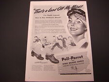 """1943 Poll Parrot and Star Brand Shoes Print Ad,WWII,""""Thats a Load Off My Mind!"""""""