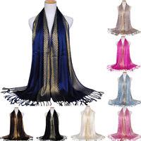 Women Glitter  Cotton Tassel Long   Hijab Shawl Luxury Scarf Scarves Stole Wrap