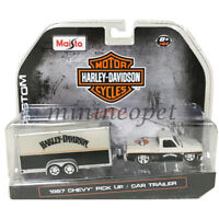 MAISTO 15363 HD2 HARLEY DAVIDSON 1987 CHEVROLET PICK UP 1/64 with TRAILER SILVER