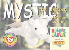 Ty Beanie Babies Bboc Card - Series 2 Common - Mysyic the Unicorn (w/Fur Main)
