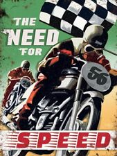 The Need For Speed Motorcycle Racing Chequered Flag Small Metal/Steel Wall Sign