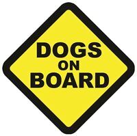 DOGS ON BOARD WARNING SAFETY SIGN STICKER Vinyl Decal for car vehicle window