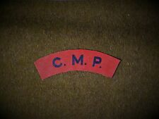 C.M.P Military Police reproduction printed badges WWII for Battledress