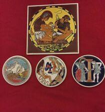 Lot 4 Vintage Greek Mythology Ceramic Tiles Coasters Greece Handmade Niarchos