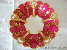 VG GERMAN JLMENAU GRAF HENNEBERG ROYAL RUBY RED FLORAL PORCELAN CANDY FRUIT BOWL