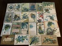Lot of~25~FLOWERS~Blue~FORGET-ME-NOTS~vintage~greeting~Postcards-in Sleeves-g428