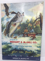 Wright & McGill Co. Denver fishing tackle items Bass Collectible Metal sign