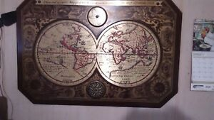 1964 Masketeers Large Metal and Wood Map of the World in 1628. Looks good