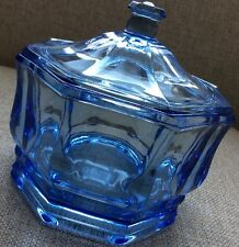 "Light BLUE GLASS CANDY DISH WITH LID 5"" Tall Octagonal Round 5 3/4"" Diameter"
