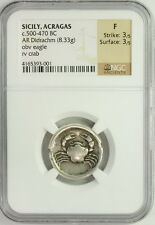 Ancient Sicily Acragas Akragas 500-470BC AR Didrachm NGC Crab Graded F