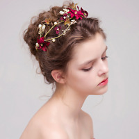 Bridal Wedding  Red Flower Butterfly Pearl Princess Tiara Hair Band Headband