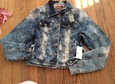 Juniors SZ M Vanilla Star Distressed Denim Jacket~$49.98~NEW~