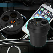Car Cup Holder Charger Power 2Cigarette Lighter Socket Dual USB Adapter 3.1A 12V