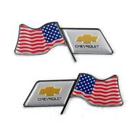 2 x Universal Auto Fender Aufkleber Embleme Dekoration U.S. Flagge für Chevrolet