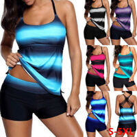 Large Size Swimsuit Women Tankini Soft Two Piece Sets Striped Swimwear Beachwear