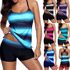 Plus Size Women Tankini Swimsuit Two Piece Sets Striped Gradual Push Up Swimwear