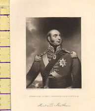 c1860 VICTORIAN PRINT EDWARD DUKE OF KENT & STRATHEARN WITH FACSIMILE SIGNATURE
