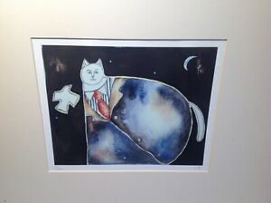 Welsh Art signed print Outsider Artist Visionary Cat study by Jocelyn Prosser.