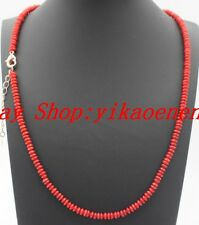 "Beautiful 2x4mm Red Coral Abacus Rondelle Beads Gemstone Necklace 18"" AAA"
