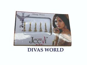 Designer Crystal Stone Bindi Golden Long Wedding Forehead Indian Tikka Pack of 6