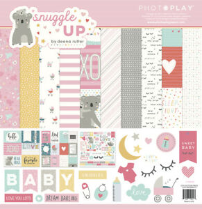 """PhotoPlay Paper """"Snuggle Up Baby Girl"""" 12x12 Collection Pack Papers + Stickers"""