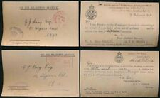 Gb 1922-24 officiel handstamps... post office secrétaire cartes 2 types flier + hs