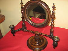 QUALITY 1830-1850 WALNUT SHAVING OR DRESSING TABLE MIRROR WITH CANDLE SCONCES.