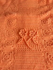 Vintage Homemade Crochet Knitted Blanket Handmade Throw Square Multi Color 40x52
