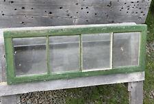 "Vintage Wood 4 Pane Window, Green ~ No Cracks or Rot ~ 33 3/4""W x 11 7/8""H"