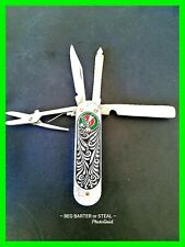Vintage Unique USSR Enamel Stainless Steel Hand Painted Folding Knife Very Rare!
