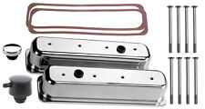 BILLET SPECIALTIES POLISHED TALL VALVE COVERS,SBC CENTER BOLT,BLACK PCV BREATHER