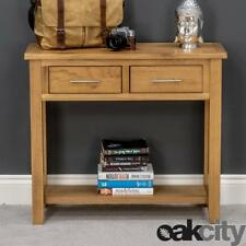 Nebraska Oak Console Table With Shelf / Solid Wood 2 Drawer Hall Table / New