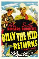 OLD LARGE ROY ROGERS COWBOY MOVIE POSTER, Billy The Kid Returns 1939