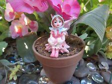 "Fairy Garden Miniature 1.5"" Hooded fairy figurine dressed in Pink New"