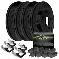 [FRONT+REAR KIT] Black Hart *DRILLED & SLOTTED* Brake Rotors +Ceramic Pads C1263