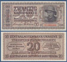 Deutsche Besatzung Ukraine 20 Karbowanez 1942 KASSENFRISCH / UNC  Ro.595 b