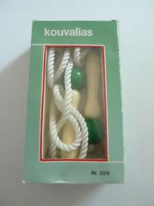 1990 Vintage-  Kouvalias- Wooden Handle Jump Rope -Made In Greece