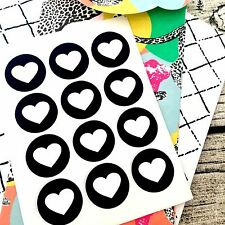 Black and White heart stickers, wedding favour seals, monochrome #1000