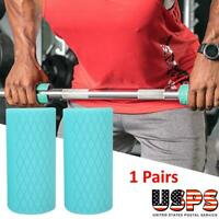2Pcs Thick Bar Weight Lifting Fat Grips Barbell Grips Handles Training Adapter