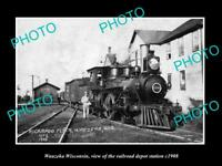 OLD LARGE HISTORIC PHOTO OF WAUZEKA WISCONSIN, RAILROAD DEPOT STATION c1908
