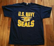 U.S. Navy Seals Blue T-Shirt tee Men's Large US Naval shirt USA Eagle