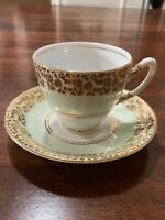 Vintage Royal Stafford Cup & Saucer Pale Mint With Gold Flowers & Leaves Edge!