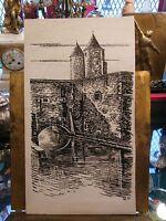 Feutre sur Carton Porte des Allemands André Simon 1926-2014 1987 Artiste Lorrain