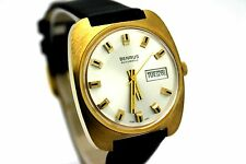 *NOS* Vintage BENRUS Day Date Automatic 14K Gold Plate Men's Dress Watch CLEAN