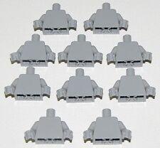 LEGO LOT OF 10 NEW PLAIN LIGHT BLIUSH GREY MINIFIGURE TORSOS PIECES